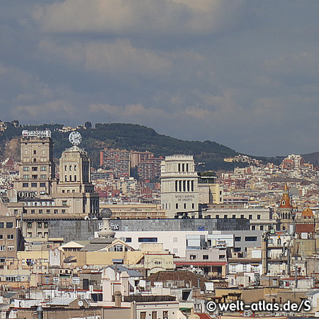 View over the rooftops of Barcelona to Plaça de Catalunya