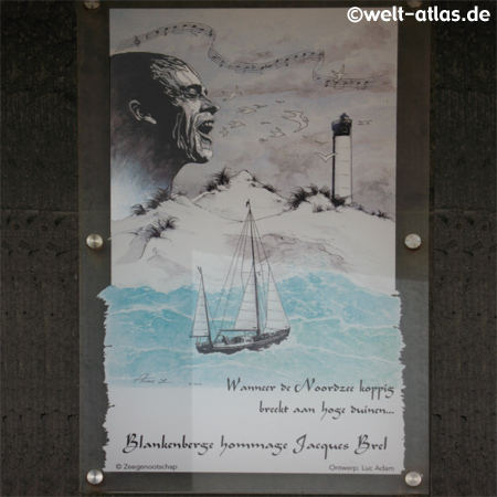 Blankenberge hommage Jacques Brel,am Leuchtturm