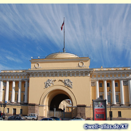 Entrance gate to the Admiralty on the bank of Neva River in Saint Petersburg