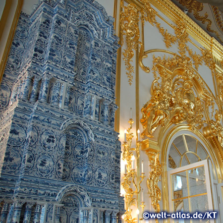 Beautiful tiled stove in the Catherine Palace in Pushkin near St. Petersburg