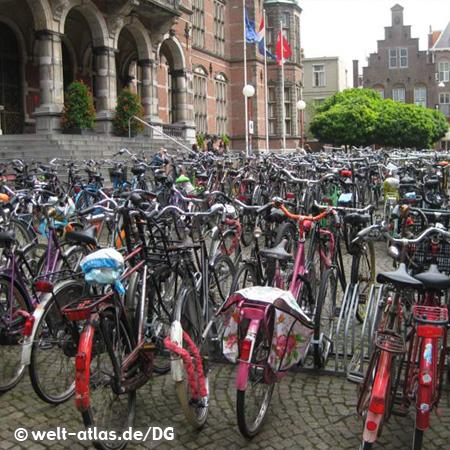Fahrräder vor der Universität in Groningen