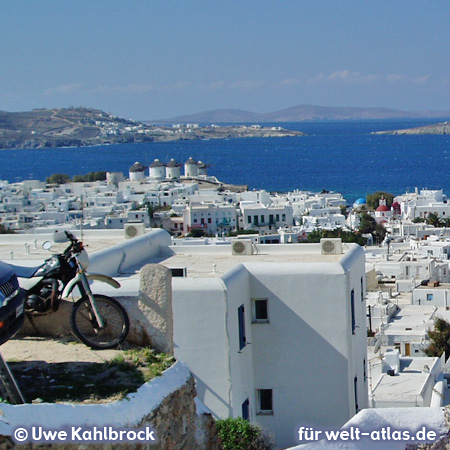 Overlooking Mykonos Town (Chora) with its windmills