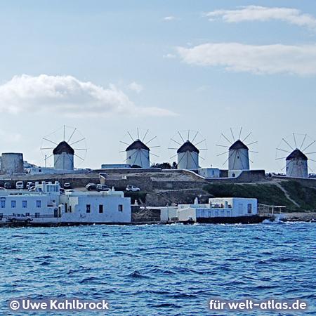 The famous five lower mills on Kato Mili of Mykonos