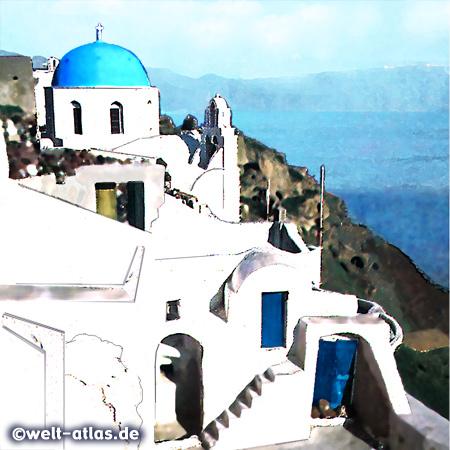 Blendend weisse Häuser und blaue Kirchenkuppeln sind der typische Blick auf Santorin...technisch verfremdetes Foto