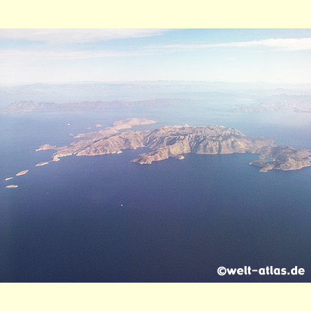 Flight over the island of Symi, Greece