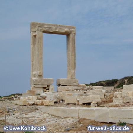 Landmark of Naxos is the large marble gate (Portara) on the peninsula