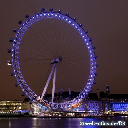 """Das Riesenrad """"London Eye"""" am Themseufer bietet eine großartige Aussicht, Wahrzeichen Londons"""