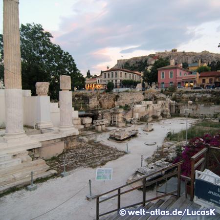 Unterhalb des Burgberges mit der Akropolis  befindet sich das Gelände der antiken Agora
