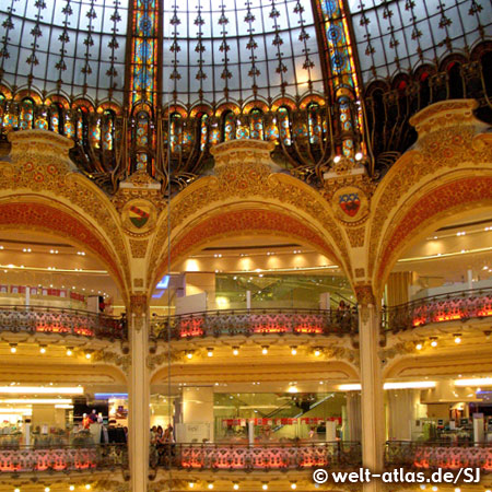 Inside the Galeries Lafayette, dome and balconies