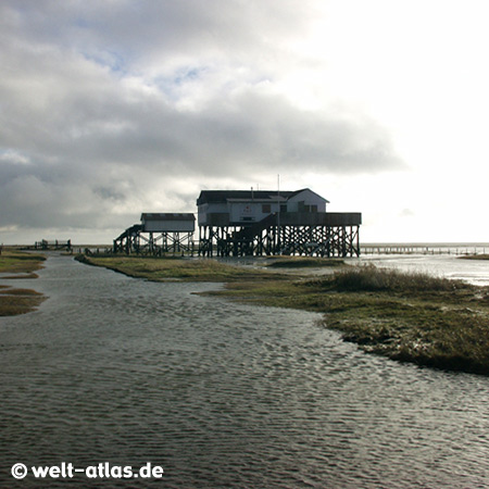 foto pfahlbauten in st peter ording bei hochwasser welt. Black Bedroom Furniture Sets. Home Design Ideas