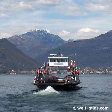 """Laveno, Fähre """"San Carlo"""", Intra, Lago Maggiore, Berggipfel, Schnee, Lombardei, Italien"""