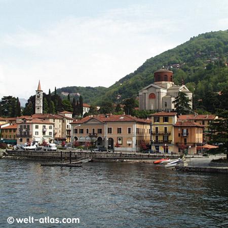 Laveno, Kirche, Boote, Lago Maggiore, Lombardei, Italien