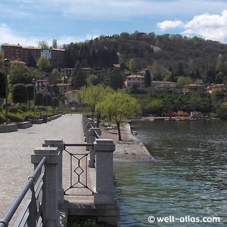 Laveno-Mombello, Promenade, Lago Maggiore,  Lombardy, Italy