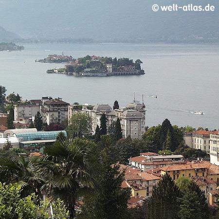 Lago Maggiore, Blick von Stresa zur Isola Bella und der Isola dei Pescatori