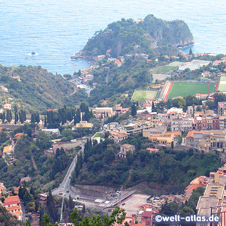 Taormina and bay, Sicily, Italy