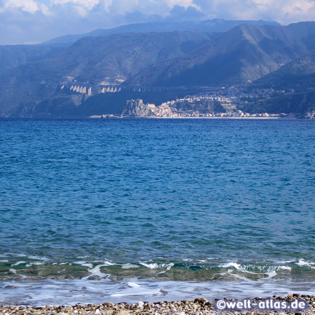 View from Sicily to Calabria, Strait of Messina with Scilla and Castello Ruffo