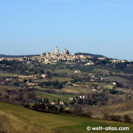 San Gimignano in den Hügeln der Toskana
