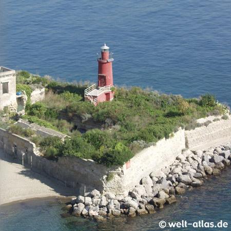 """Leuchtturm unterhalb des Castello di Baia, Bacoli, Golf von Neapel, Position: 40° 48' 42.21"""" N 14° 4' 52.40"""" E"""