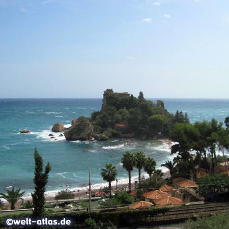 View of Isola Bella, the Pearl of the Ionian Sea, small island near Taormina