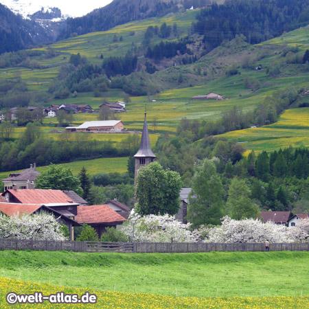 Kirche St. Martin, Zillis, Graubünden, weltberühmt, romanische bemalte Holzdecke, Schweiz