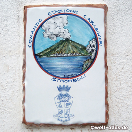 Tile on Stromboli with painting of the volcano