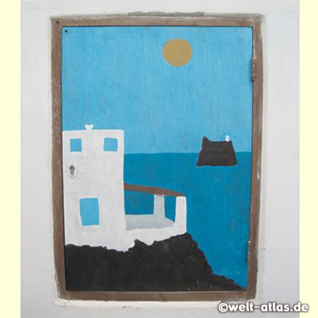 Bild an einer Hauswand mit Sonne, Meer und Strombolicchio, Stromboli