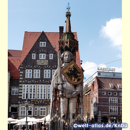 Famous Roland statue in front of the town hall of Bremen, UNESCO World Heritage Site