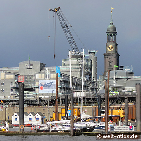 View over the City Marina on Baumwall, publishing house Gruner + Jahr, cranes and Michel, Elbe, Harbour, Hamburg