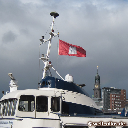 Flag and one landmark of Hamburg, St. Michaelis