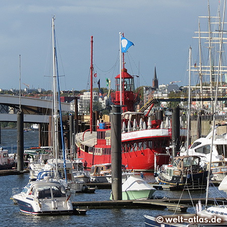 The old English lightship at the City Marina is used as a restaurant,Hamburg