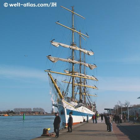 Warnemünde, harbour, sailing boat, Mecklenburg-Vorpommern, Germany