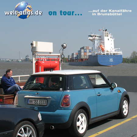 welt-atlas on tour, ferry Nord-Ostsee-Kanal, Kiel Canal, Brunsbüttel