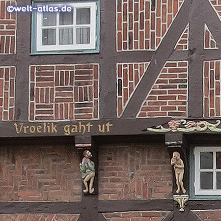 The oldest town house of Rendsburg, built in 1541, facade detail