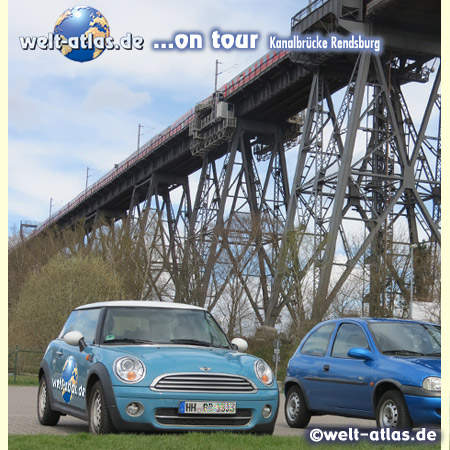 world-atlas ON TOUR under the Rendsburg High Bridge at the Kiel Canal