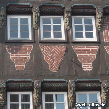 Detail einer schönen Fachwerkfassade in Buxtehude