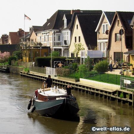 Häuser am Ufer der Este in Estebrügge