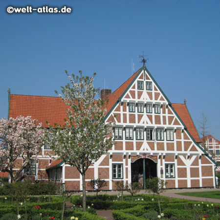 "The timber framed historic town hall of Jork in the ""Altes Land"""