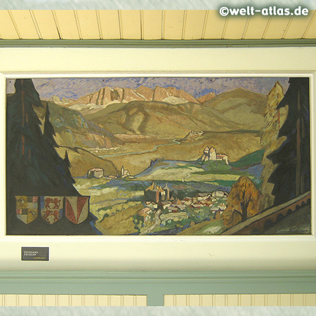 Meran, Jugendstil-Wandelhalle an der Winterpromenade mit Südtiroler Motiven (Prissiano) des Malers Franz Lenhart