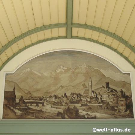 Meran als Motiv des Malers Franz Lenhart in Jugendstil-Wandelhalle an der Winterpromenade
