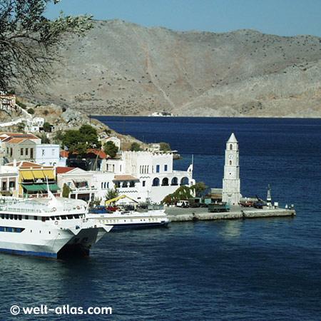 Insel Symi, Bootsausflug von Rhodos, Schwammtaucher, Hafen Gialós