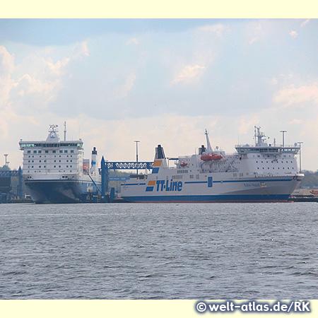 Skandinavienkai im größten deutschen Ostseehafen in Lübeck-Travemünde mit der Fähre Travemünde-Trelleborg