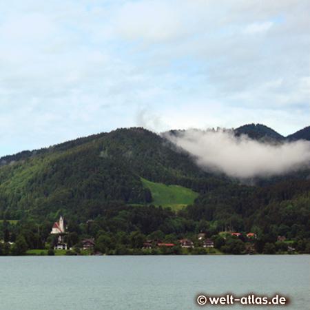 Lake Tegernsee, Bad Wiessee with church, Bavarian Alps