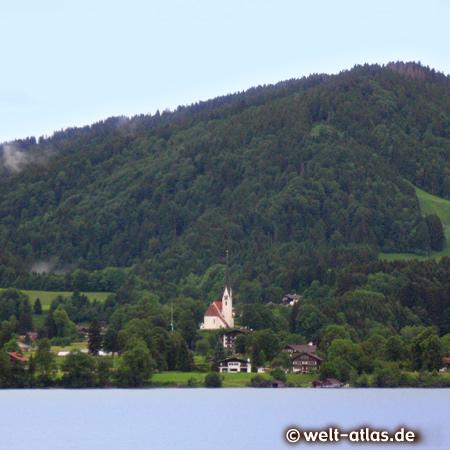 Lake Tegernsee, church of Bad Wiessee, Bavarian Alps