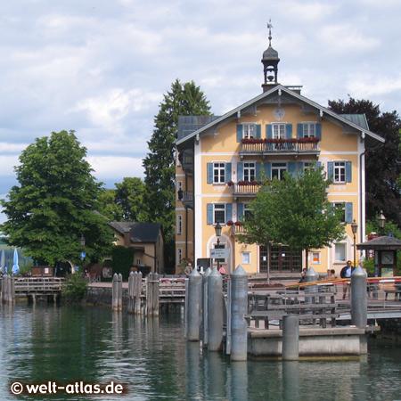 Lake Tegernsee and Town hall of Tegernsee, Bavarian Alps