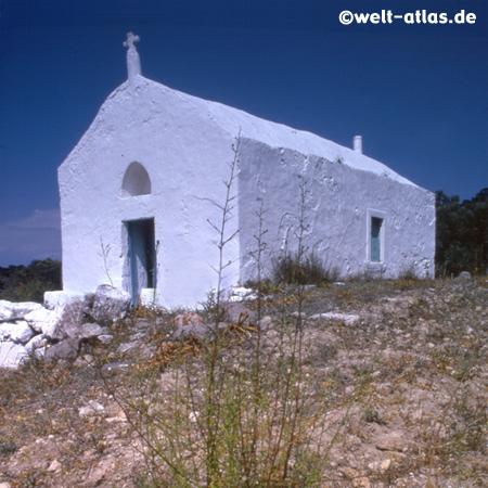 small white church on Aegina Island
