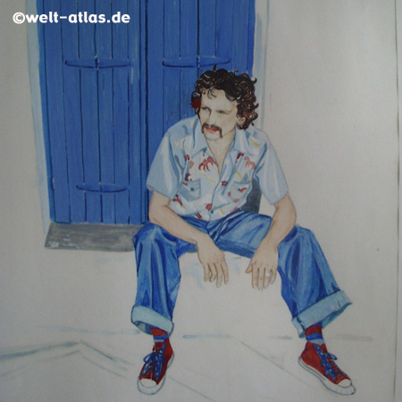 young man, sitting in front of a blue door, Tempera drawing