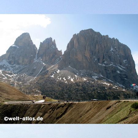 Langkofelgruppe, Gruppo del Sasso Lungo, Sella Joch, Grödnertal, Val Gardena, Fassatal, Val di Fassa, Dolomites, Italy