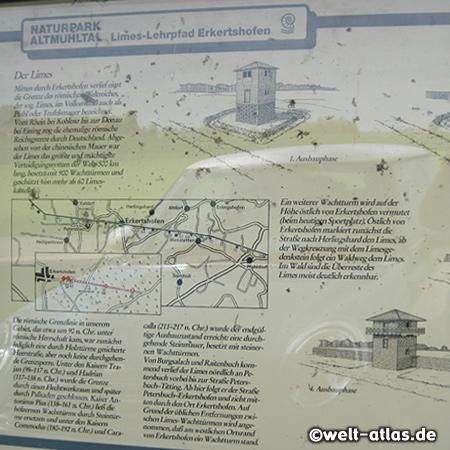 Schautafel am Limes-Lehrpfad im Altmühltal bei Erkertshofen neben der Rekonstruktion eines steineren Limesturmes - Weltkulturerbe der UNESCO