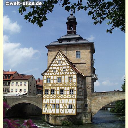 Bamberg, Altes Rathaus, die Altstadt ist Weltkulturerbe der UNESCO