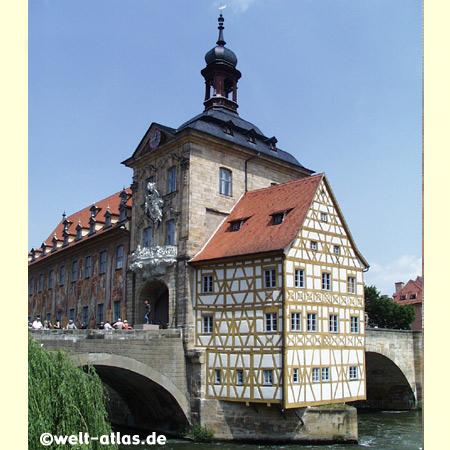 Bambergs Atlstadt mit dem Alten Rathaus ist Weltkulturerbe der UNESCO